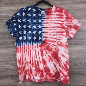 American Flag red white blue tie dye tee t-shirt